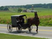 Amish family riding in a traditional Amish buggy in Lancaster County, Pennsylvania, USA.