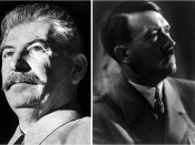 A collage made from the portraits of Stalin and Hitler. Inspired by Overy's