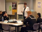 English: NORFOLK (April 9, 2007) - Transition Assistance Management Program Educator, Susan Pulliam, begins the Career Options and Navy Skills Evaluation Program (CONSEP) course for Sailors. CONSEP emphasizes achieving personal excellence, career and prof