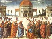 Pietro Perugino's usage of perspective in this fresco at the Sistine Chapel (1481 82) helped bring the Renaissance to Rome.