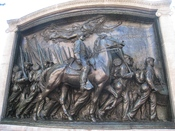 English: Memorial to Robert Gould Shaw and the 54th Massachusetts Volunteer Infantry Regiment, Boston Common, Boston, Massachusetts, USA. Sculpture created 1884-1887 by Augustus Saint-Gaudens (1848-1907), with memorial architecture by Stanford White. I to