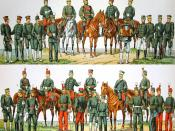 The Imperial Japanese Army in 1900. Uniform color should be dark-blue not grey-green as pictured.