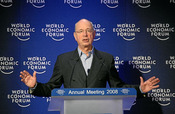 Davos, Switzelrand, Klaus Schwab, Founder and Executive Chairman, World Economic Forum addresses the audience during the session 'Message from Davos: Believing in the Future' at the Annual Meeting 2008 of the World Economic Forum in Davos, Switzerland, Ja