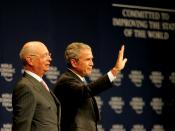 SHARM EL SHEIKH/EGYPT, 18MAY08 - Klaus Schwab, Founder and Executive Chairman, World Economic Forum, and George W. Bush, President of the United States of America captured at the Opening Plenary session of the World Economic Forum on the Middle East 2008