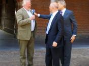 German WDR (Westdeutscher Rundfunk) journalist interviewing (in the middle) Dutch politician Uri Rosenthal (VVD party) at the Binnenhof, The Hague