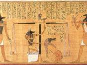 Anubis weighing the heart of Hunefer. Compare with a similar scene in the Papyrus of Ani