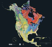 Age of the bedrock underlying North America, from red (oldest) to blue, green, yellow (newest).