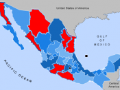 English: Created from image in public domain Image:Mexico_states_map_small.png. Released into public domain. Image highlights states in which the fighting in the Mexican Drug War is most intense.