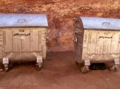 English: Waste managment in Petra, Jordan: two dumpsters.