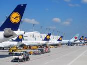 English: Lufthansa aircraft and one Air Canada aircraft at Munich Airport.
