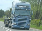 Scania R420 Topline - with flatbed trailer - at Clonard, Co. Meath Ireland May 2012