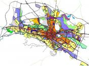 The graphical scheme of the General urban plan for the city of Skopje, Republic of Macedonia. The graphical scheme contains different zones which are designated with different colors.