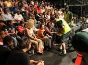 Sanitation workers speak to the crowd