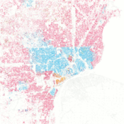 Race and ethnicity in Detroit, Michigan Caucasian African-American Asian Hispanic Other Each dot is 25 people.