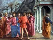 The Tribute Money for the Brancacci by Masaccio, a fresco cycle that had great influence upon subsequent artists
