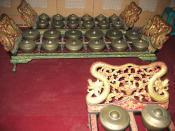 Javanese bonang barung (front) and bonang panerus, from STSI Surakarta