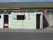 English: Barber shop in township near Cape Town