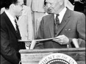English: Photo of Dr. Jonas Salk receiving a Gold Medal from President Eisenhower