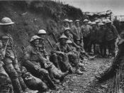 A ration party of the Royal Irish Rifles in a communication trench during the Battle of the Somme. The date is believed to be 1 July 1916, the first day on the Somme, and the unit is possibly the 1st Battalion, Royal Irish Rifles (25th Brigade, 8th Divisi