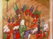 Muhammad advancing on Mecca, with the angels Gabriel, Michael, Israfil and Azrail