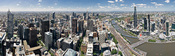 The Melbourne skyline as viewed from the Rialto Observatory on Collins St. This panorama spans facing north (left side) east (centre) to south (right side). Taken as a 2 x 5 segment panorama by myself with a Canon 5D and 17-40mm f/4L lens. This image is a