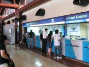 English: Garuda Indonesia ticket box at Soekarno-Hatta International Airport, Jakarta.