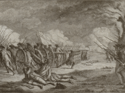 English: A stylized engraving that inaccurately depicts the Battle of Lexington, 19 April 1775.