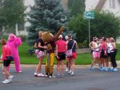Goldy and a pink gorilla!