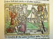 Woodcut illustration of Veturia and Volumnia confronting Coriolanus