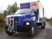English: Red Bull Energy Drink beverage truck using the new hand truck invention call an HTS Ultra-Rack.