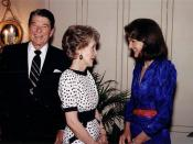 Former First Lady Jacqueline Kennedy Onassis in 1986 during a visit from the President and First Lady, Ronald and Nancy Reagan.