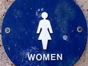 English: I photographed this picture from a public restroom. It is a female symbol for the women's restroom. I intend to use it on the toilet article to show the two commonly used male and female pictograms on public restrooms in the United States--Dark T