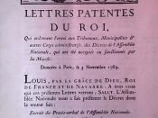 Lettres patentes de Louis XVI promulgant le texte de la déclaration des droits de l'homme et du citoyen, l'abolition des privilèges féodaux, etc