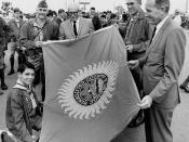 Supervisor Alton Allen with Orange County flag to be taken to the 1969 Boy Scout Jamboree