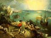 Bruegel's Landscape with the Fall of Icarus, used as the cover art for some editions of Headlong