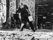 One of Namuth's many photos of Jackson Pollock painting with his