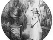 Illustration of Charlotte at Werther's tomb (from The Sorrows of Young Werther by Goethe)
