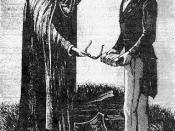 A 1893 engraving by Edward Stevenson of the Angel Moroni delivering the Golden Plates to Joseph Smith in 1827. From Reminiscences of Joseph, the Prophet (Salt Lake City: Stevenson, 1893), 21.