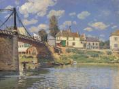 English: Painting by Alfred Sisley - Bridge at Villeneuve-la-Garenne in 1872 :Metropolitan Museum of Art, New York
