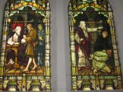 Depiction of the Parable of the Unmerciful Servant. Photograph of stained glass window at Scots' Church, Melbourne
