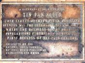 Plaque for Tin Pan Alley in New York. The plaque reads: A landmark of American Music Tin Pan Alley 28th Street between Fifth and Sixth Avenus was the legendary Tin Pan Alley where the business of the American popular song flourished during the first decad