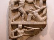 Roman Relief with gladiators. The standing Secutor fights a Retirarius lying on the ground. In the lower regisert you can see the Secutor only. Text reads: