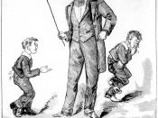 StateLibQld 1 113036 Cartoon of students receiving the cane, 1888