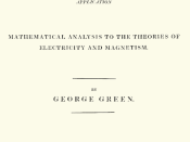 The title page to George Green's original essay on what is now known as Green's theorem. It was published privately at the author's expense, because he thought it would be presumptuous for a person like himself, with no formal education in mathematics, to