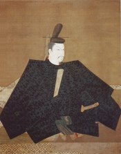 Portrait of Yoritomo, copy of the 1179 original hanging scroll, attributed to Fujiwara No Takanobu. Color on silk.