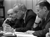 Secretary of State Dean Rusk, President Lyndon B. Johnson, and Secretary of Defense Robert McNamara at a meeting in the Cabinet Room of the White House.