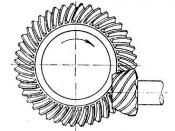 English: Hypoid bevel gear and pinion. Commonly found in the rear drive axles of cars and trucks. Česky: Ozubené kolo
