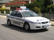 An Australian Police vehicle - a South Australian State Police Car.