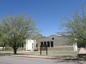 English: La Mesilla Community Center, located in Mesilla, New Mexico at 2251 Calle de Santiago. The building houses a senior center, a Head Start program, Teen Court, and Driving While Intoxicated (DWI) School.