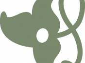 English: A simple vine leaf ornament for text, green, right-up